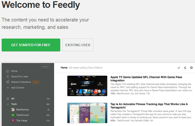 Feedly content curation tool