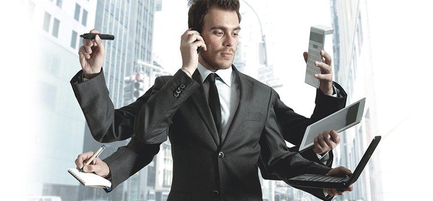 multitasking man for making brand online